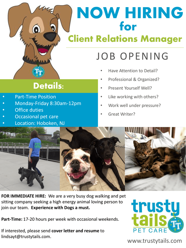 trusty tails is hiring client relations manager trusty tails pet care